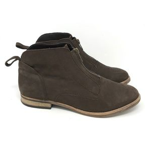 Diba Brown Leather Front Zip Ankle Boots 9